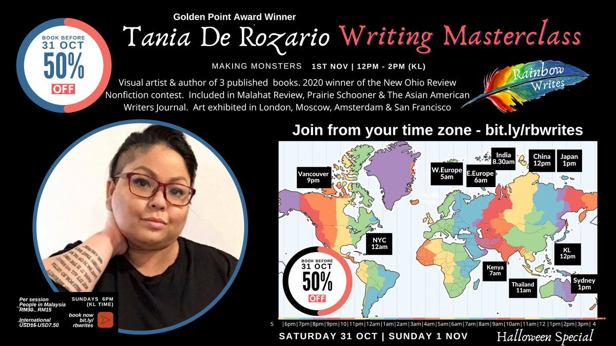 @TaniaDeRozario So excited to have you run ur making monsters #workshop on #Halloween night (your time) / 1st Nov (KL Time - day of the dead) - it's my favourite holiday as it connects me to my #Celtic ancestors. Get 50% off if they book before the stroke of midnight via https://t.co/oQ1UYtK20x https://t.co/Db6yqltoJP