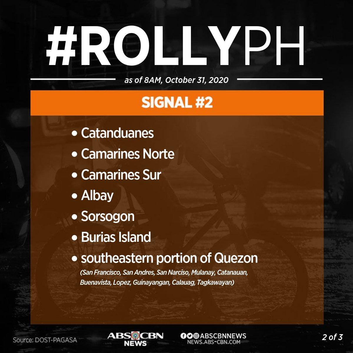 [8AM] Itinaas na ng PAGASA ang signal no. 2 sa ilang lugar sa Bicol Region habang nasa signal no.1 naman ang maraming lugar sa Luzon at Eastern Visayas. #RollyPH https://t.co/7jLYJbBTUJ