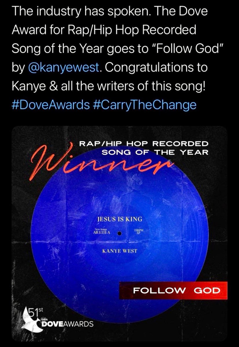 Praise God. Thank you so much #DoveAwards       God continues to send encouragement      Good is winning     Things are changing     Praise God https://t.co/OYU12hBWX8