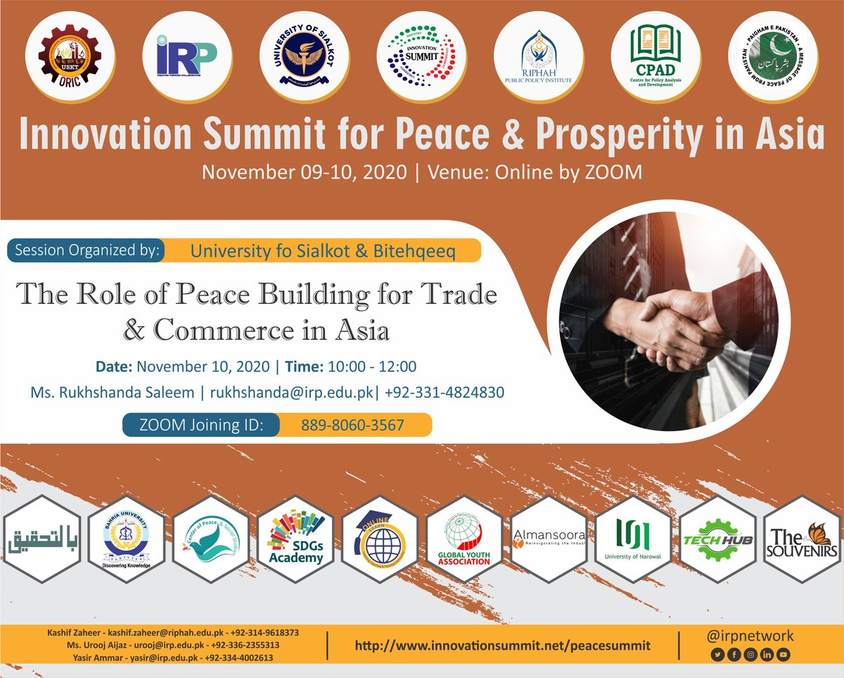 Annual Online Innovation Summit for Peace & Prosperity in Asia  Technical Session on The Role of Peace Building for Trade and Commerce in Asia November 10, 2020 | 10:00am-12:00pm https://t.co/rNw2m21Hhn #PeaceSummit #InnovationSummit2020 #ConflictResolution #Commerce #Trade #Asia https://t.co/ExeUkwOkkb