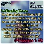 Image for the Tweet beginning: Philippians 1: 20 #JC #1stReadingVerse