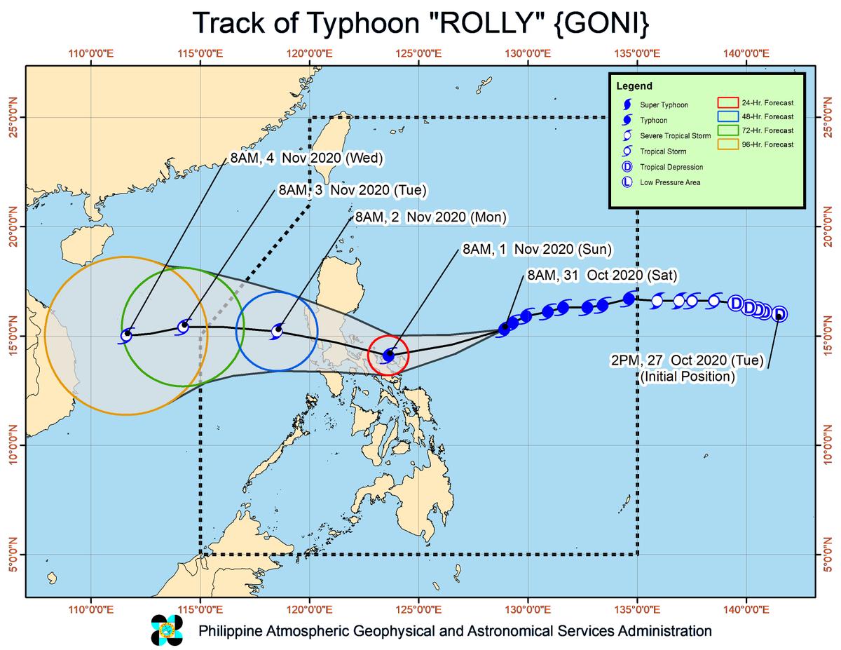 [11AM] Napanatili ng Typhoon #RollyPH ang lakas nito habang kumikilos ng pakanluran timog-kanluran sa Bicol Region. | via @dost_pagasa    Itinaas na ang Signal no. 3 sa Catanduanes. | via @dost_pagasa https://t.co/szdweEnfqn
