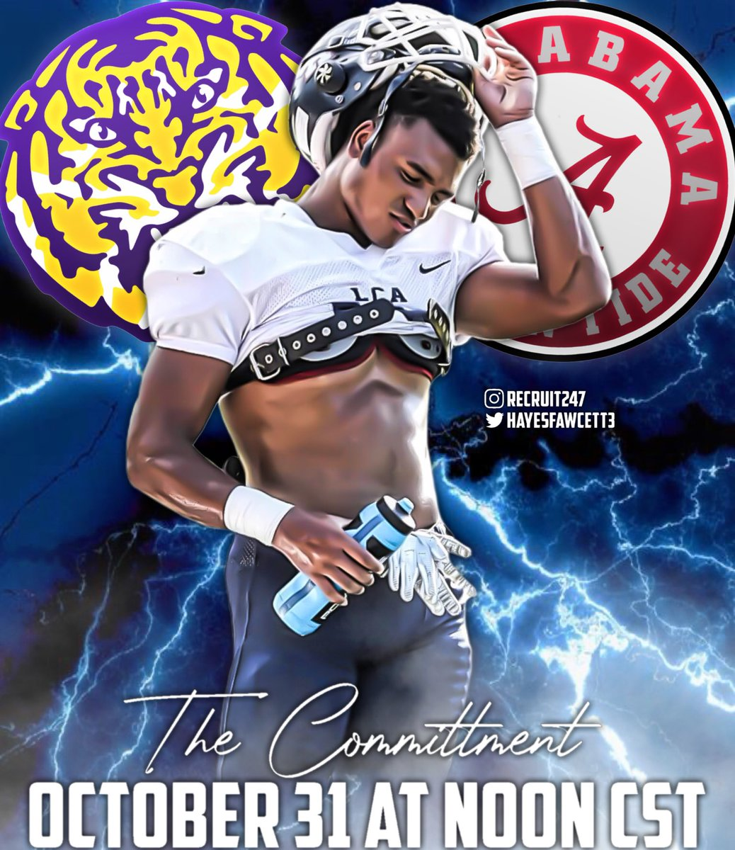 🚨 The Stage has Been Set 🚨   5 🌟 Safety Sage Ryan will Announce his Commitment Tomorrow (October 31st) at Noon CST  Alabama or LSU? Who Will it Be 🤔
