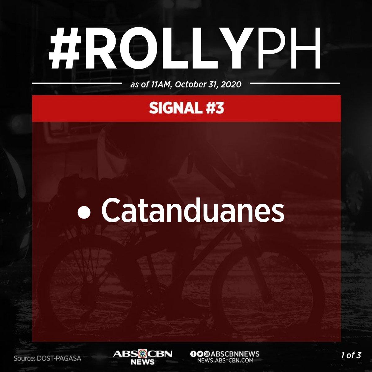 [11AM] Itinaas na ng PAGASA ang signal no. 3 sa Catanduanes habang papalapit ang typhoon #RollyPH sa Bicol Region.  Narito ang mga lugar na nasa ilalim ng signal no. 1 at 2. https://t.co/LRoEiiEkk2