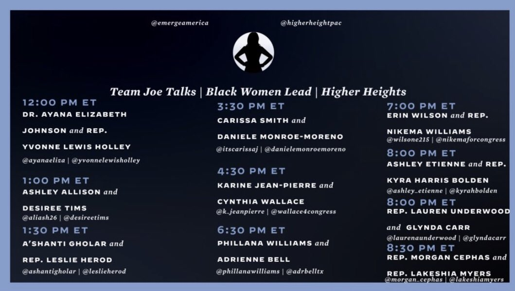 Check out these amazing speakers tomorrow during our Black Women Lead series on our Instagram — you dont want to miss it! You can check it out here: instagram.com/votejoe/