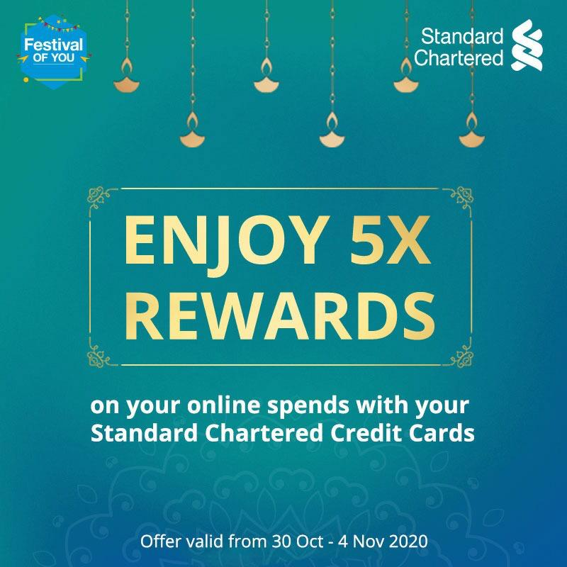 Unlock happiness this festive season with the #FestivalOfYou. Enjoy 5X rewards on all online spends with Standard Chartered credit cards. Offer valid from 30 Oct - 4 Nov 2020  To know more,   #Festiveseason #StandardChartered