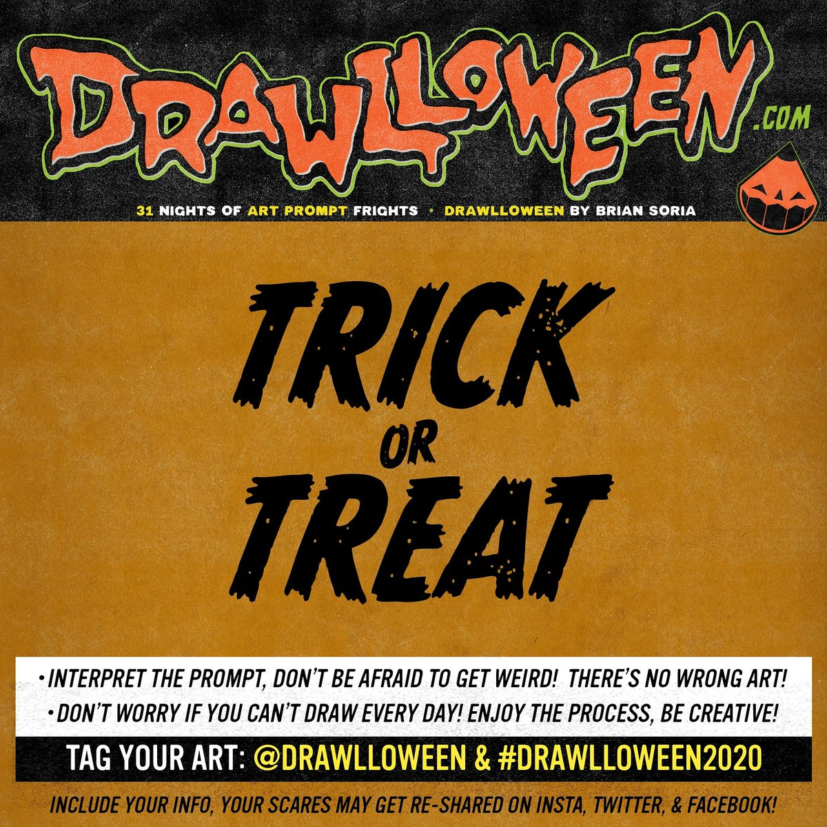 HAPPY HALLOWEEN 🎃✏️🎃✏️🎃✏️  We made it, gang! Trick or Treat, draw whatever ya want today for #Drawlloween!  Visit  for merch! Shirts for charity, enamel pins for the scaredy!  #DRAWLLOWEEN2020