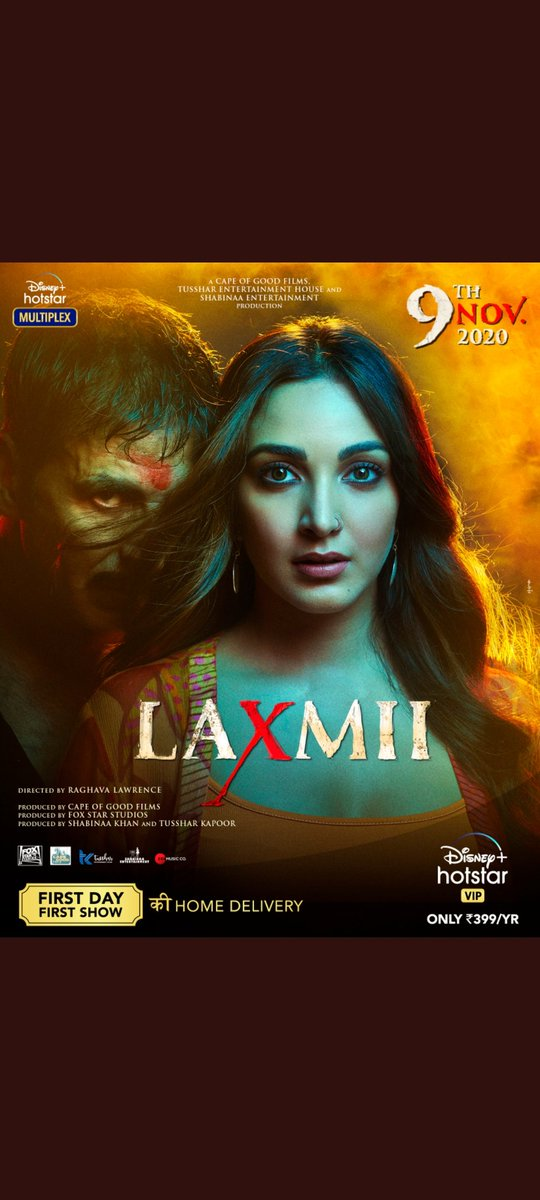 #LaxmmiBomb is Renamed as #Laxmii will be released on 9th November in @DisneyPlusHS 🔥🔥💥💥..Looks very interesting posters & Songs👌👌👌..waiting for the movie eagerly👍👍 #yediwalilaxmmibombwali #DisneyPlusHotstarMultiplex @akshaykumar @advani_kiara @TusshKapoor @offl_Lawrence