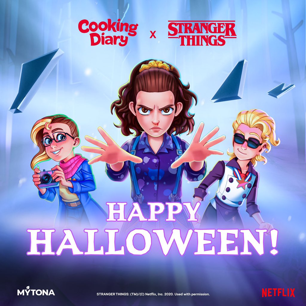 Halloween is here! Spend it in the Stranger Things style!🎃 ⠀ • Put on your costume & grab your friends • Open Cooking Diary and become the owner of the Scoops Ahoy • Ride the food truck with Max and Eleven ⠀ Don't miss out on this special event in Cooking Diary!  #mytona https://t.co/zbeVyYkdRU