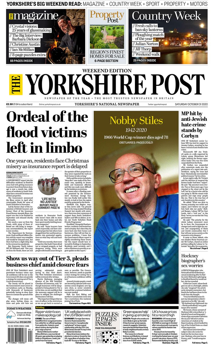 Good morning all, heres your excellent weekend edition of The Yorkshire Post - produced in Gods Own County.... 📰 The Magazine 🚜 Country Week 🏉 Sports Weekend 🏘️ Property Post 🚘 Motoring Enjoy your #weekend reading. #ProtectProperJournalism #buyapaper