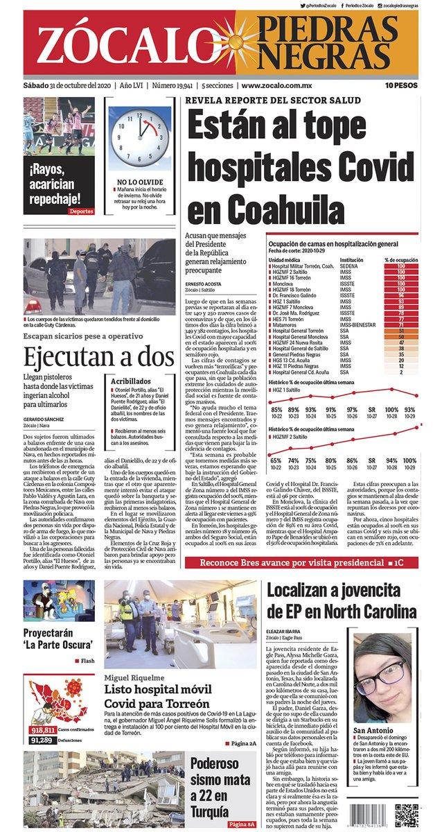 #FelizSábado #PiedrasNegras ☀️ Hoy en portada: Están al tope hospitales Covid en Coahuila 😷💉👉 https://t.co/4bZIUGJ5iJ https://t.co/WVEtjYugCH