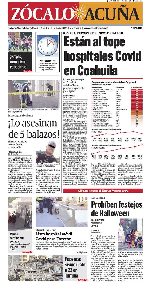 #FelizSábado #Acuña ☀️ Hoy en portada: Están al tope hospitales Covid en Coahuila 😷💉👉 https://t.co/Iib7wGVzwo https://t.co/184NTozKGp