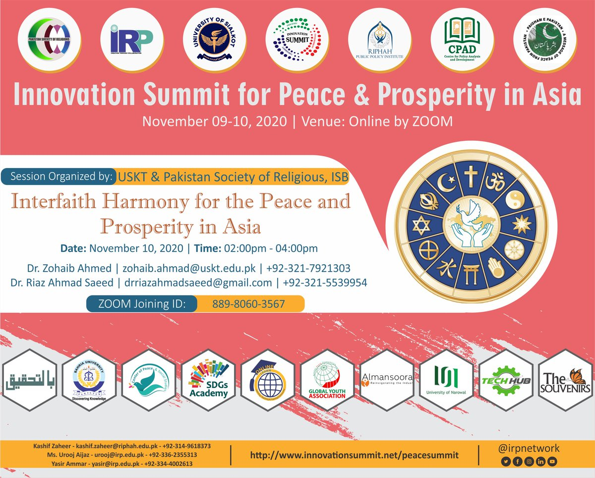 Annual Online Innovation Summit for Peace & Prosperity in Asia Technical Session on Interfaith Harmony for the Peace and Prosperity in Asia November 10, 2020 | 02:00pm-04:00pm https://t.co/o1BJuwb1le #PeaceSummit #InnovationSummit2020 #ConflictResolution #Commerce #Trade #Asia https://t.co/vSZNJPewhu