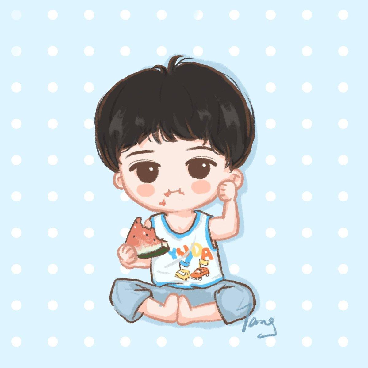 Baby Choi loves watermelon 🍉 #SIWON #최시원 #시원 [© 宝蓝色桃乐茜] https://t.co/Z24UYzJNne