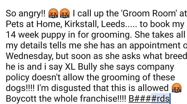 @PetsatHome wow.  The bull dog community spend a lot of money with you... I bet you don't ban them from buying dog toys and food?  #Leeds #bulldog #pets #petsathome #oldtymebulldog https://t.co/ewsDhlQP7o