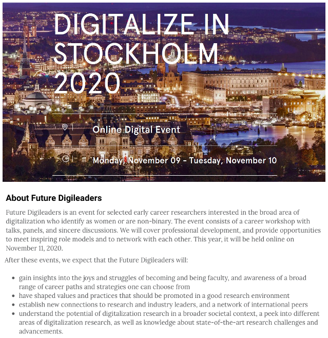 Exciting that @HelenaFrijns and I have been #selected for the #Future #Digileaders workshop held together with the annual conference Digitalize in Stockholm 2020 🤓👩🔬⚙️💡💼🌍 Looking forward to #networking and inspiring discussions about #digitalisation, #innovation, and #career! https://t.co/roj3KXa3GN