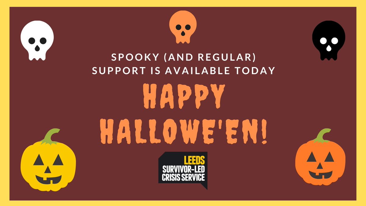 Happy Hallowe'en everyone! No idea if Trick or Treating is happening, maybe today's a good night to catch up with a cosy Hallowe'en classic movie.  LSLCS is open as usual today, whatever you want to talk about (spooky or not!). #Halloween2020 #leeds #mentalhealth #support https://t.co/E3nGfl1UXB