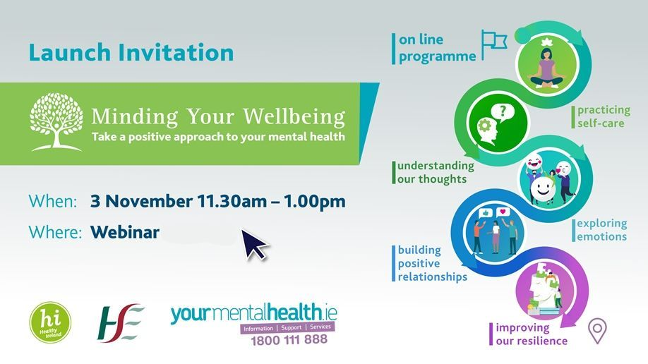 #MindingYourWellbeing a series of online video resources to help everyone learn & practice key elements of mental wellbeing such as mindfulness, gratitude, self-care & resilience. ⠀ Nov 3rd @ 11:30am ⠀ Register here; https://t.co/GxGEvkn26C ⠀ #MentalWellness #SelfCare https://t.co/ikWEs2qH9p