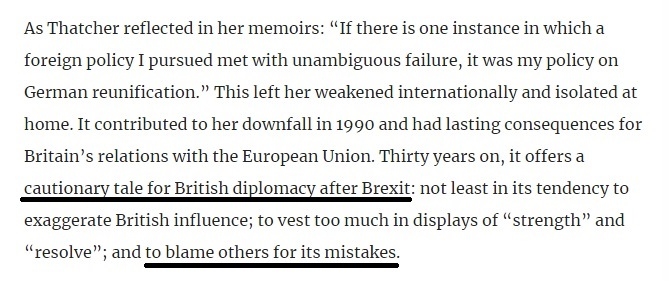 """""""For Thatcher the end of communism, the collapse of the Warsaw Pact and the emergence of a peaceful, united Germany might have been the pinnacle of her career. Instead, she saw it as her biggest foreign policy failure."""" Fab long read on #Europe #UK #Brexit https://t.co/7awaOpbHqa https://t.co/PSte04rsTJ"""