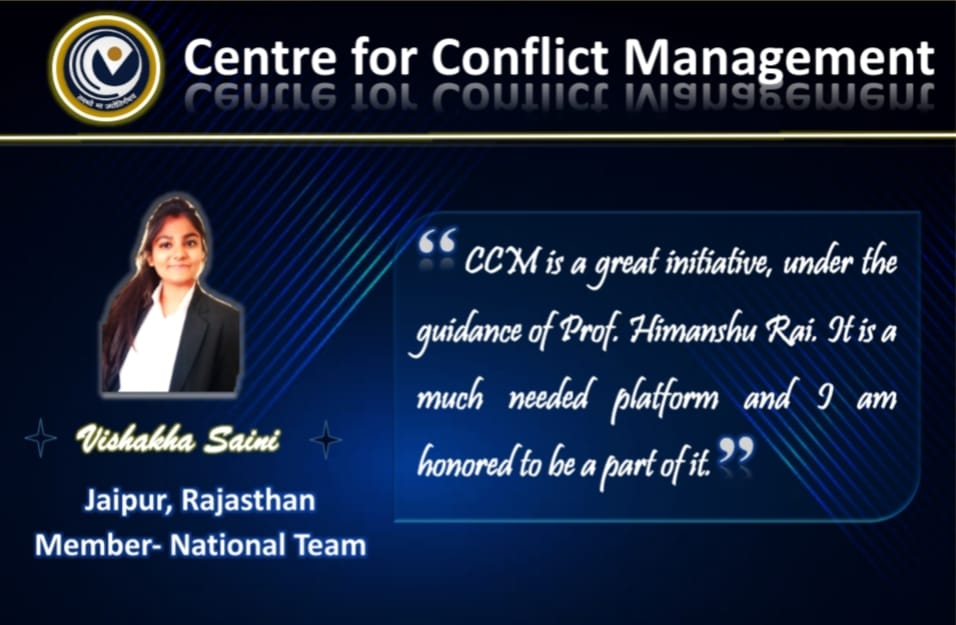 Ms. Vishakha Saini shares her views about Centre For Conflict Management. . @askhimanshurai  . #CCMwithYOU #Centre_for_conflict_management #Prof_Himanshu_Rai #conflictresolution  #mentalhealthcounseling  #businesssolutions  #mentalwellbeing  #peacefulmindpeacefullife https://t.co/OSyqlw66Sc