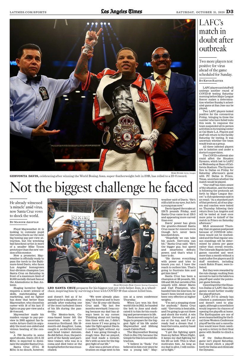 Staging lucrative fights requires a sweet science of skills, matchmaking & marketing—no one's done that better than @FloydMayweather.  Can @Gervontaa work the same magic?  Not according to the challenge-oriented @LeoSantaCruz2.  My @LATimesSports story.