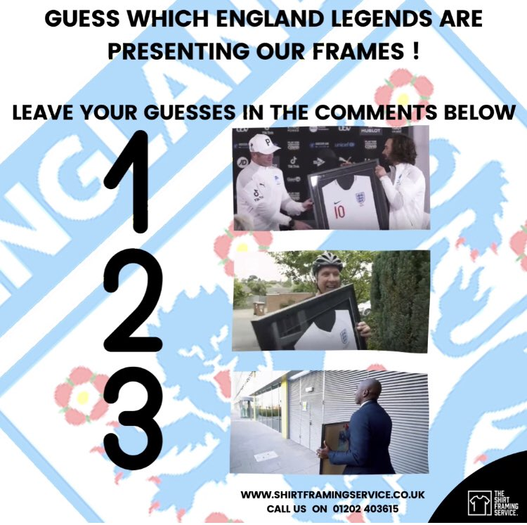❓Quiz time! Have a guess which England legends are presenting out frames to the FAs Lionhearts? Leave your answers in the comments and we'll reveal the answers tomorrow! ••••• #TSFS #shirtframing #footballshirts #thefa #lionhearts #england #football #fa #epl #dorset