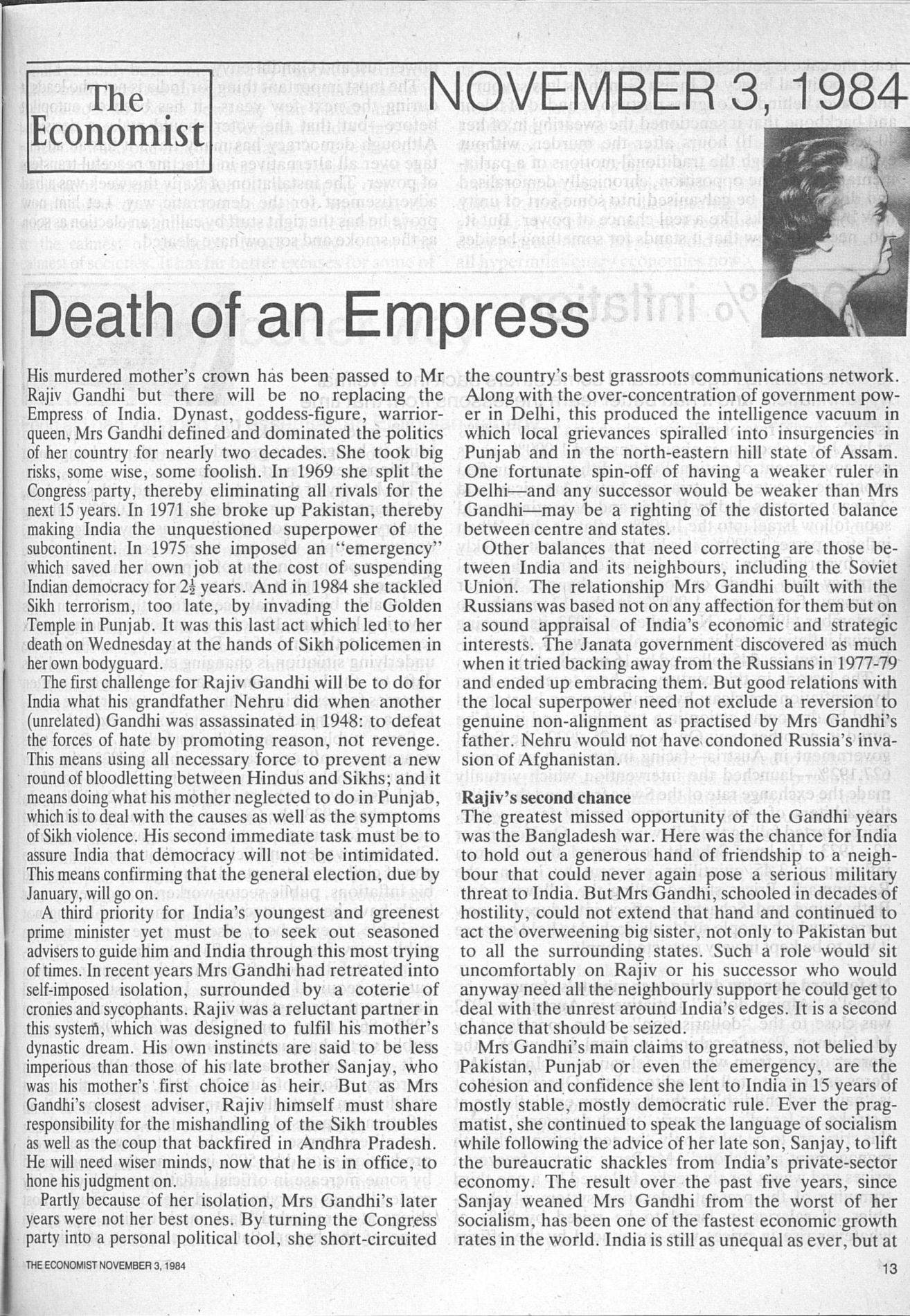 1984年的今天,印度总理英迪拉·甘地在总理府被她的两个锡克教保镖开枪刺杀身亡。-书迷号 shumihao.com