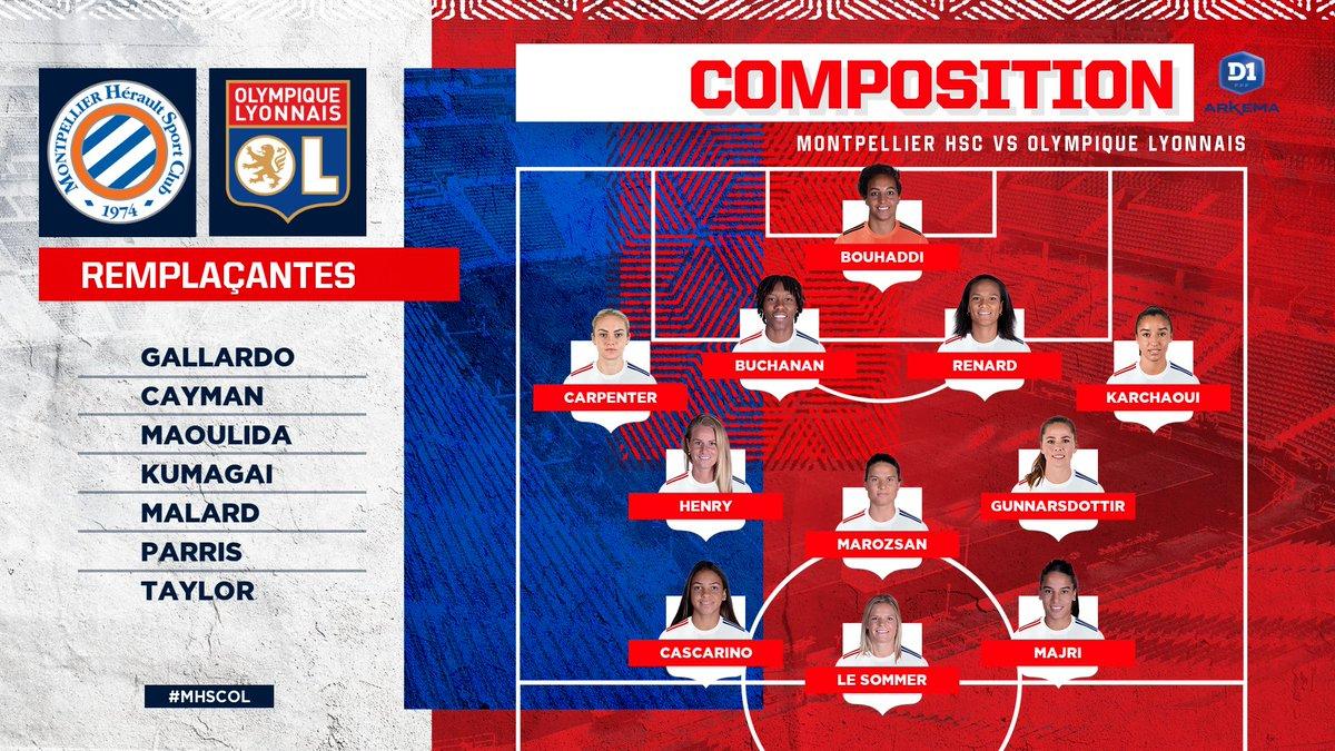 Le XI de départ de nos Lyonnaises pour affronter le @MontpellierHSC ! 👊🔴🔵  #MHSCOL