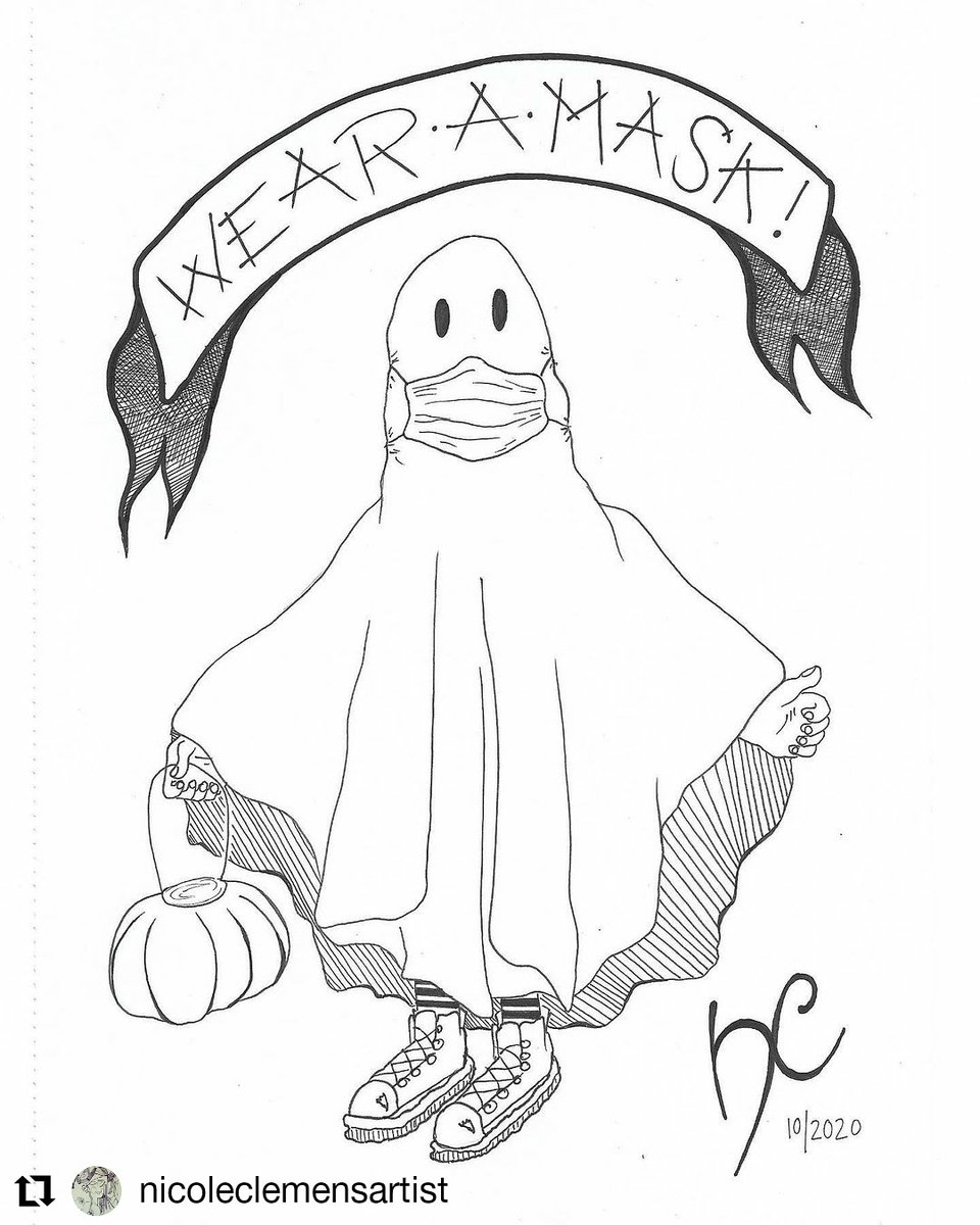 #Repost @nicoleclemensartist • • • • • • Have fun trick-or-treating tonight yah ghosts' & don't forget to wear a mask!  • • • • Prompts from @uusikuuu #inktoberbingo & @drawlloween #drawlloween #drawlloween2020