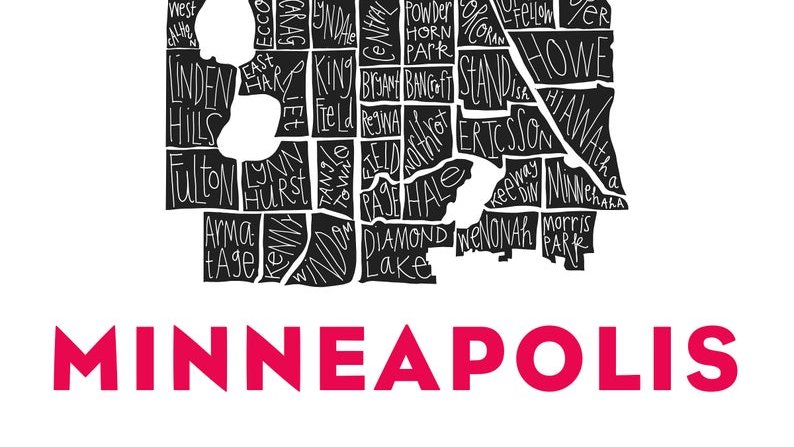 Minneapolis City Neighborhood Print by Razblint on Etsy