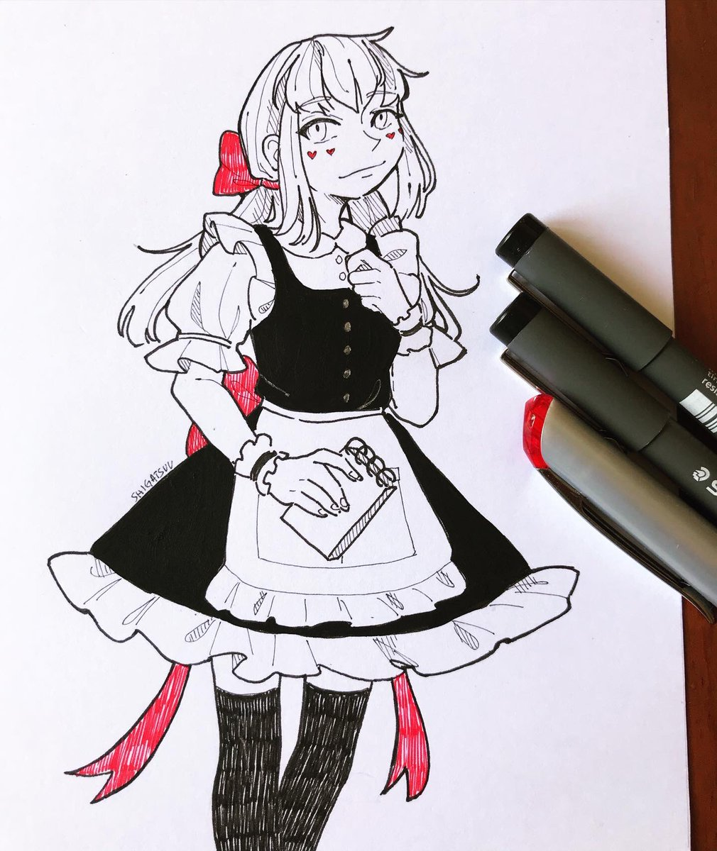 Shi Commissions Open On Twitter Day 28 Cafe Au My Haikyuu Oc Kotone Working In A Maid Cafe Spam Incoming Because I Need To Post My Last Intoned Drawings Sorry Drawing Dibujo