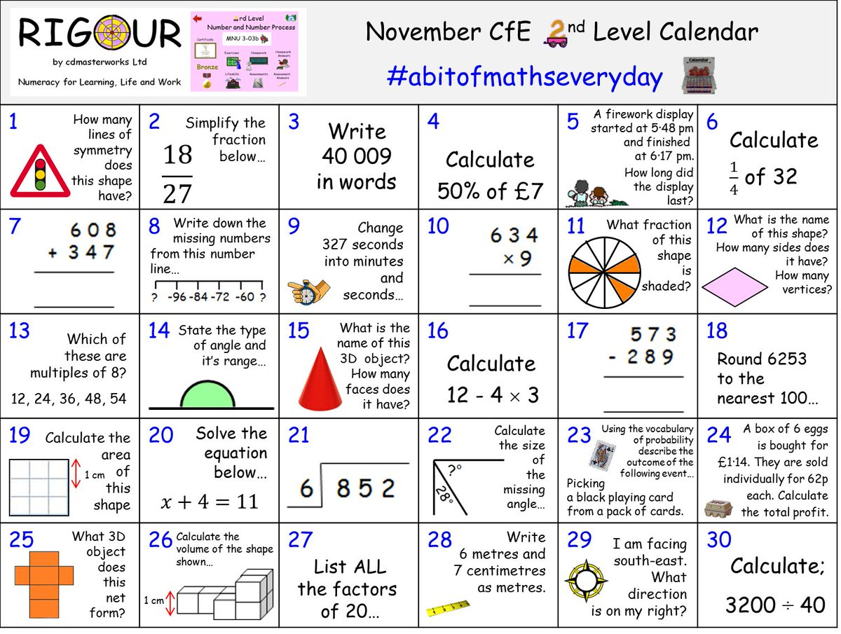 Rigour Maths On Twitter Calling All Bge Pupils Do You Want To Consolidate Your Cfe 2nd Level Numeracy Maths Skills This Month If So Try Our November Calendar Download This Calendar View [ 905 x 1200 Pixel ]