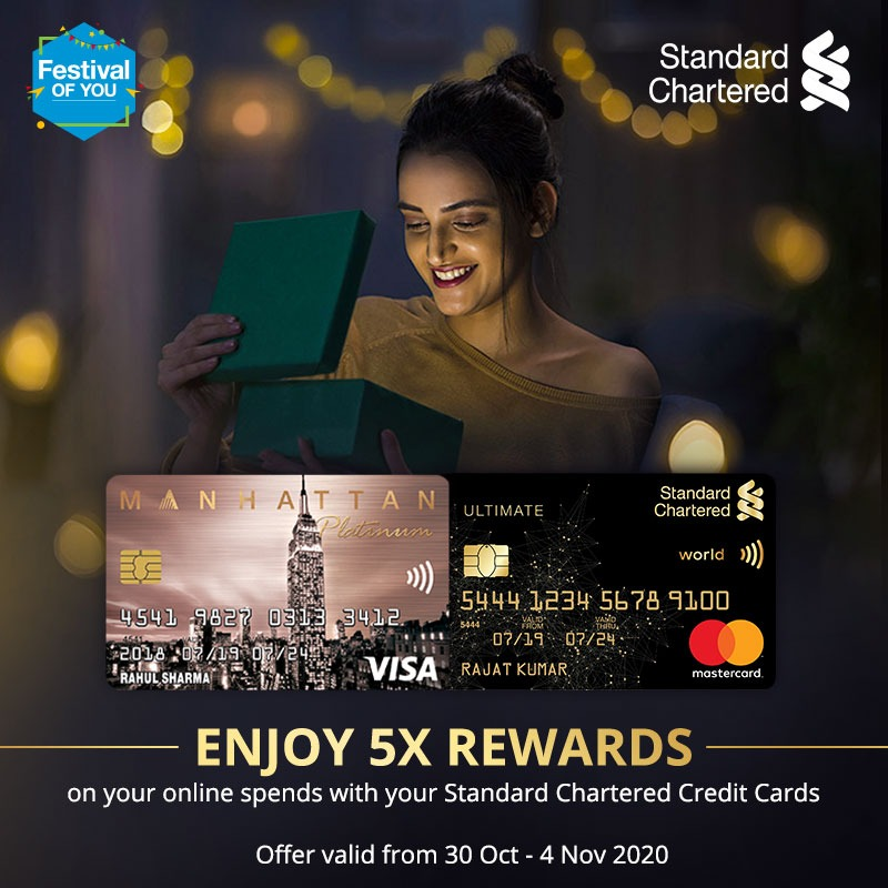Treat yourself this festive season with the #FestivalOfYou. Enjoy 5X rewards on all online spends with Standard Chartered credit cards. Offer valid from 30 Oct - 4 Nov 2020.  To know more,   #Festiveseason #StandardChartered