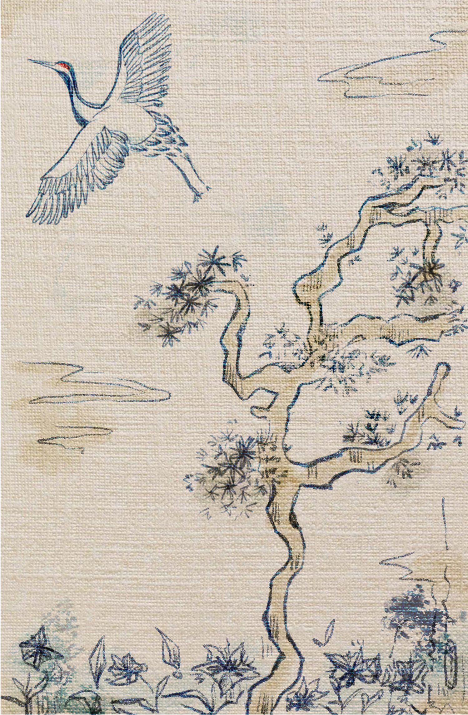 Digital art depicting an image of white crane with a red patch on its head, taking flight from stylised pine trees into a clear sky with a few stylised clouds. Below the pine trees are gentians. All of the line art is blue. An effect has been applied to make it appear as though the image is on woven fabric. Art created by twitter user gogomi.