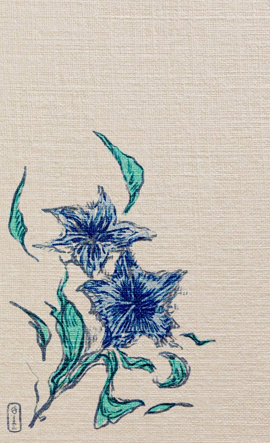 Digital art depicting an image of two simple, stylised, blue gentian flowers in full bloom, with a handful of blue-green leaves around them, on an off-white background. An effect has been applied to make it appear as though the image is on woven fabric. Art created by twitter user gogomi.
