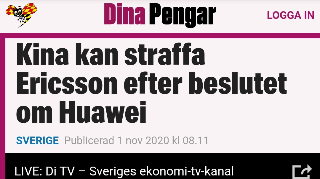 """Lucas Ljungberg on Twitter: """"Kina: Huawei är ett fritt företag utan  kopplingar till staten Också Kina: ambassadören hotar Ericsson med  sanktioner… https://t.co/di2HnI3aFg"""""""