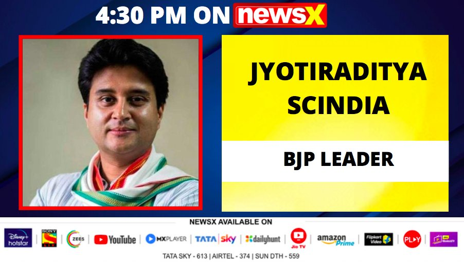 #ScindiaOnNewsX | BJP Leader Jyotiraditya Scindia (@JM_Scindia) joins NewsX for an exclusive conversation at 4:30 PM today. . . . Don't forget to tune in! @UdayPratapSingh