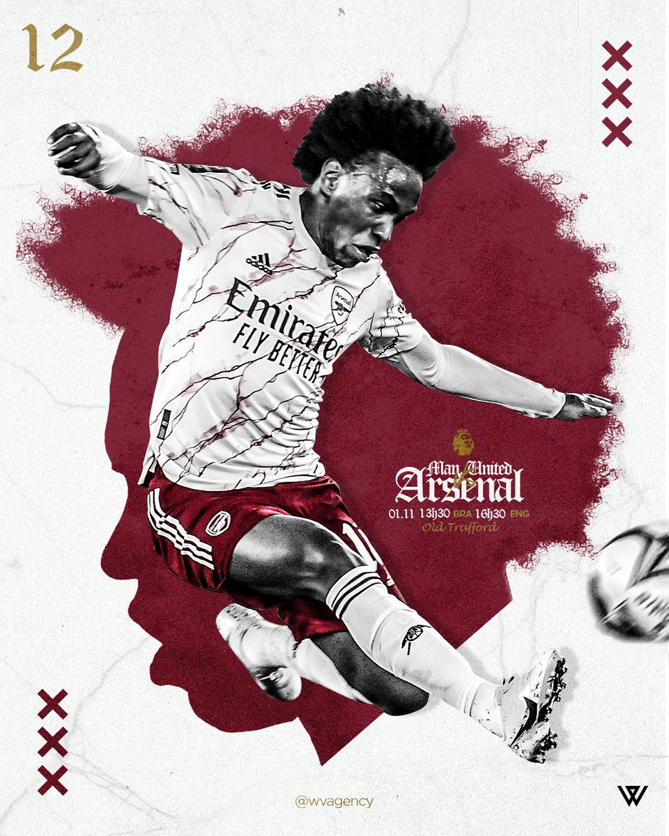 MATCHDAY! 💪 Manchester United x Arsenal ⚽️ Premier League🏆 Old Trafford 🏟 16h30 🇬🇧 13h30 🇧🇷  #premierleague #arsenal #W12 #gunners