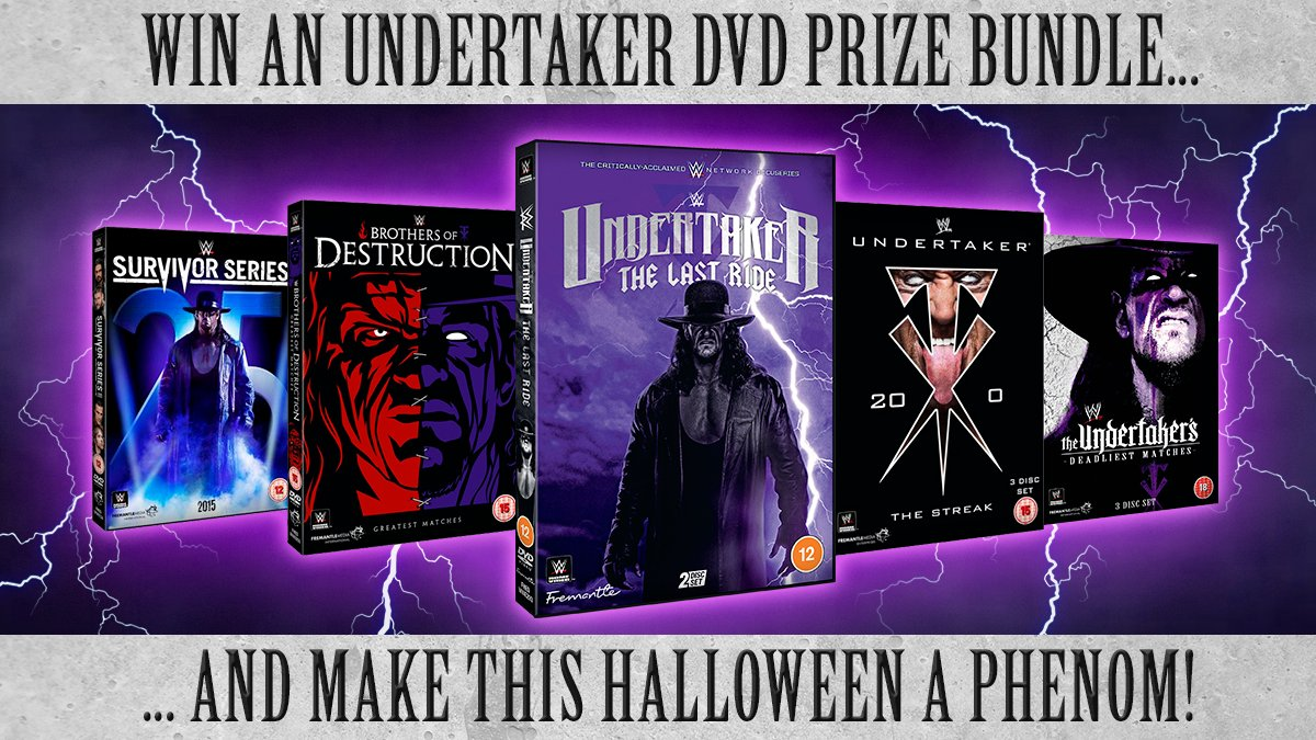 Last chance to FOLLOW & RT to enter our #Halloween weekend #prize draw & #WIN an @undertaker DVD collection! Just 1 set to #giveaway! Includes a pre-order of The Last Ride! #Competition ends Monday 2nd November #Undertaker30