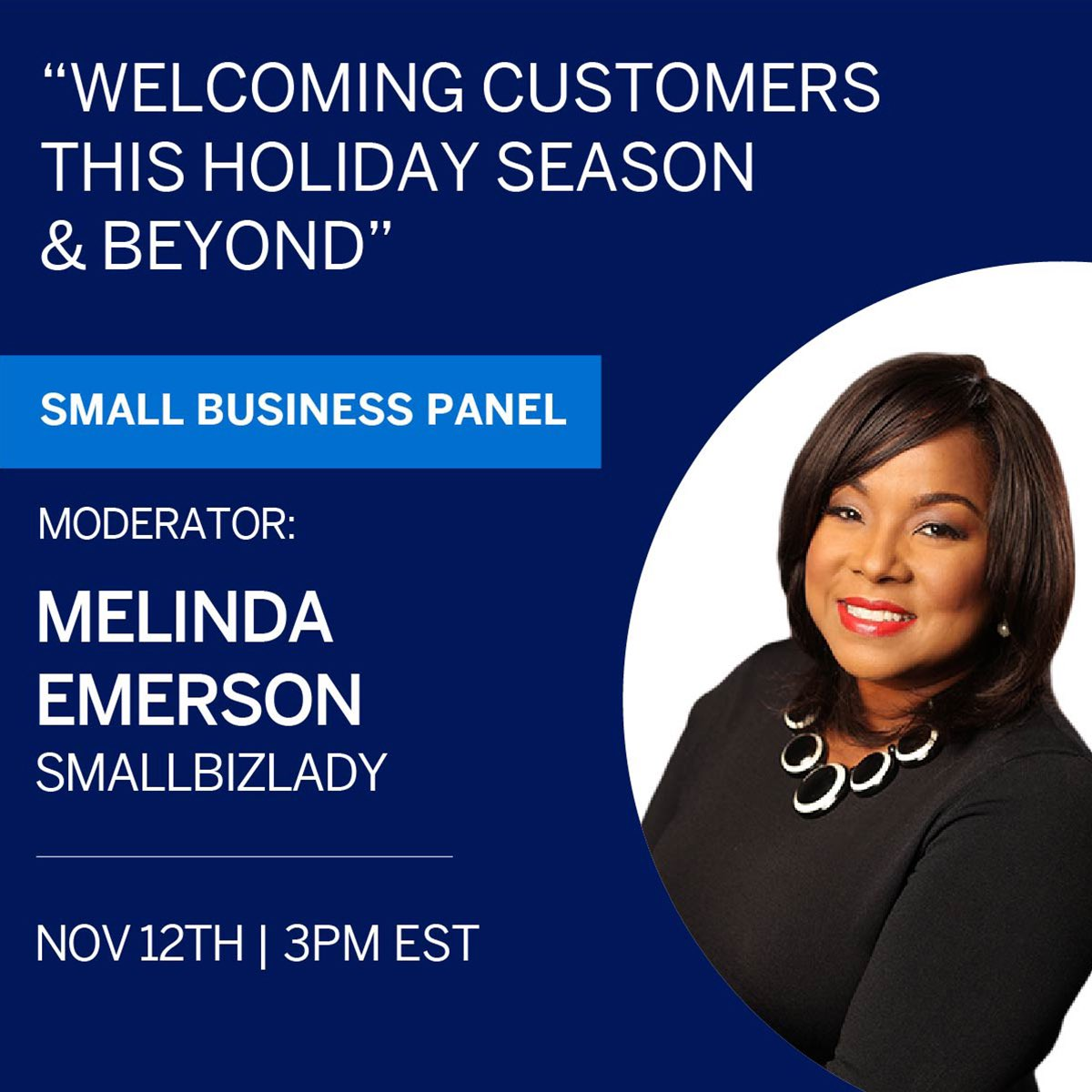 """Set your business up for success with Melinda Emerson, the """"@SmallBizLady!"""" Join her live on Nov. 12 as she chats with small business owners who are pivoting their holiday shopping season plans during COVID. Register today:"""
