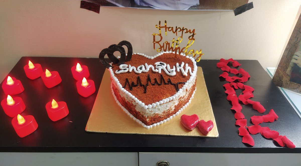 .@iamsrk Happy Birthday to you my Shah Rukh ♥ My 55 years young Sexoboy! I Love you unconditionally, forever 💌 Made a Heart shaped Red Velvet Cake for my Jaan🎂 Closing my eyes, felt you, cut the cake, made a prayer, fed you & Kissed you💋 Kisses & Hugs 🕯️  #HappyBirthdaySRK