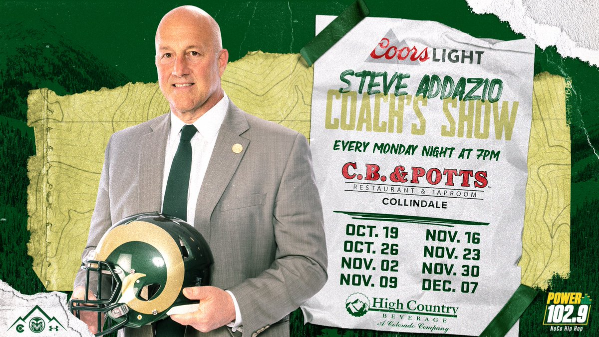 Join @BrianHRoth tonight at C.B. Potts Collindale for the @CoachAddazio Radio show @DLpride1 and @CoachBWhiteRams join Brian and Coach this week ⏰ 7 p.m. 📻 Power 102.9/@tunein
