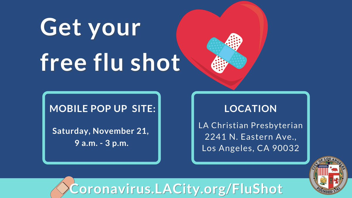 Pop up mobile site available today!   Check out the link below for a list of drive-up and walk-up sites offering #free flu vaccinations across the city.    With @USCSchPharmacy