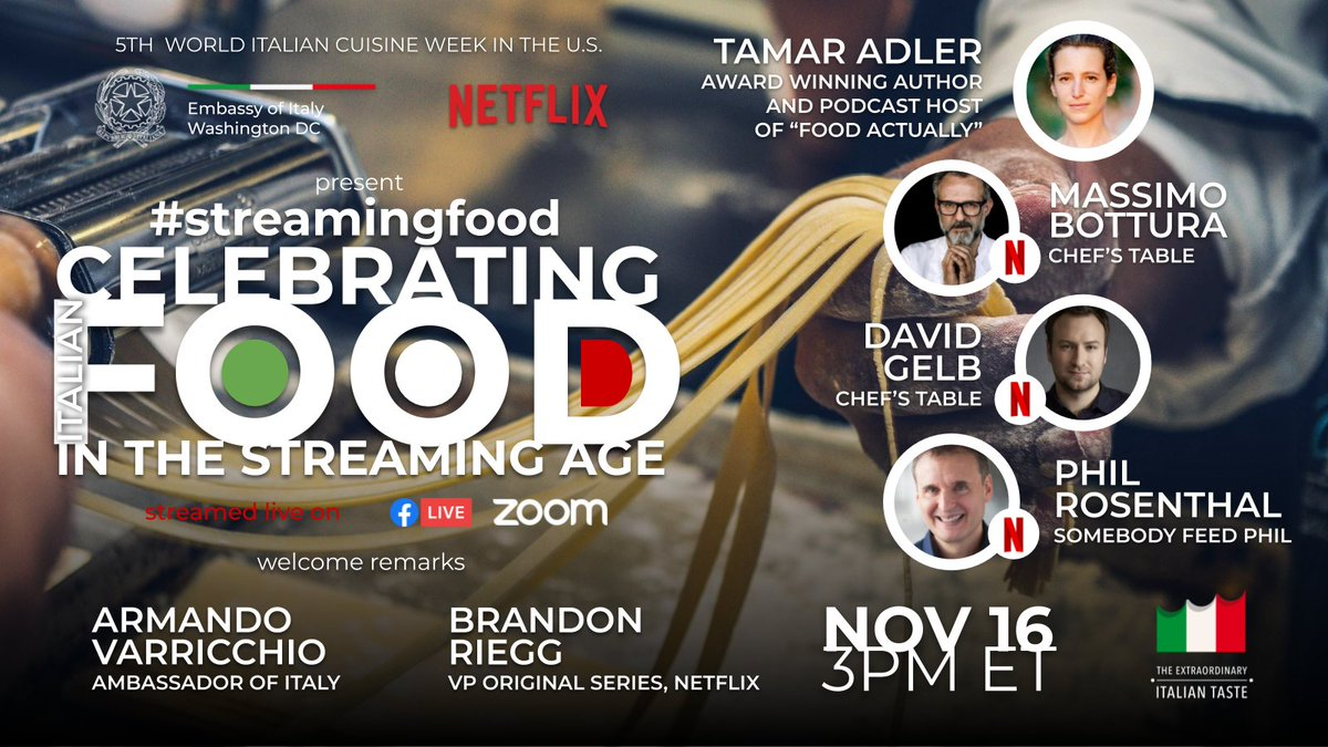 Don't miss our #StreamingFood event happening in 5 minutes LIVE on our Facebook. Join @Netflix's Brandon Riegg, #AmbVarricchio, @tamareadler, @massimobottura, @thisisdavidgelb & @philrosenthal for a discussion about food in the streaming age!