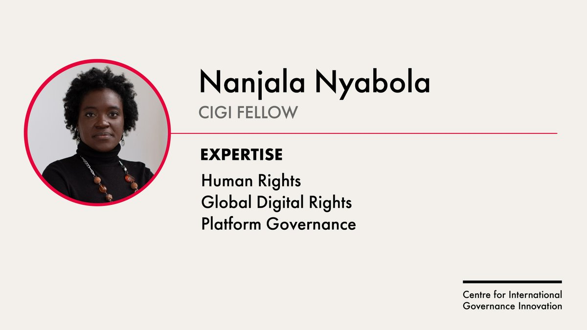 Join us in welcoming new CIGI Fellow Nanjala Nyabola (@Nanjala1). She is a writer and researcher based in Kenya, and her work focuses on the intersection between tech, media and society. Read her earlier piece on platform governance of political speech: cigionline.org/publications/m…