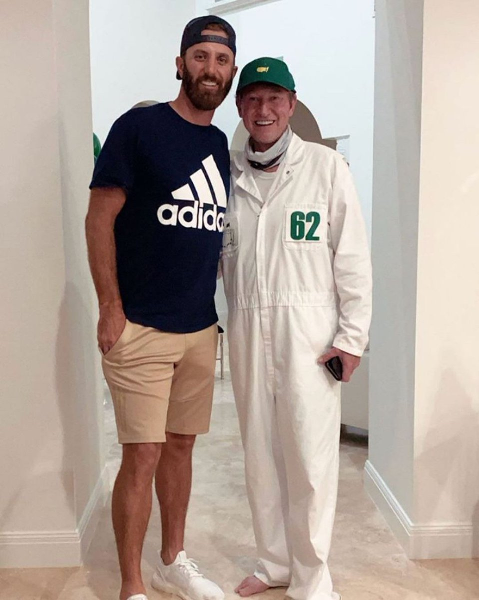 99 keeping it 💯  Wayne Gretzky broke out the caddie outfit to celebrate his future son-in-law Dustin Johnson winning the Masters   (📸: IG/kmelnichenko)