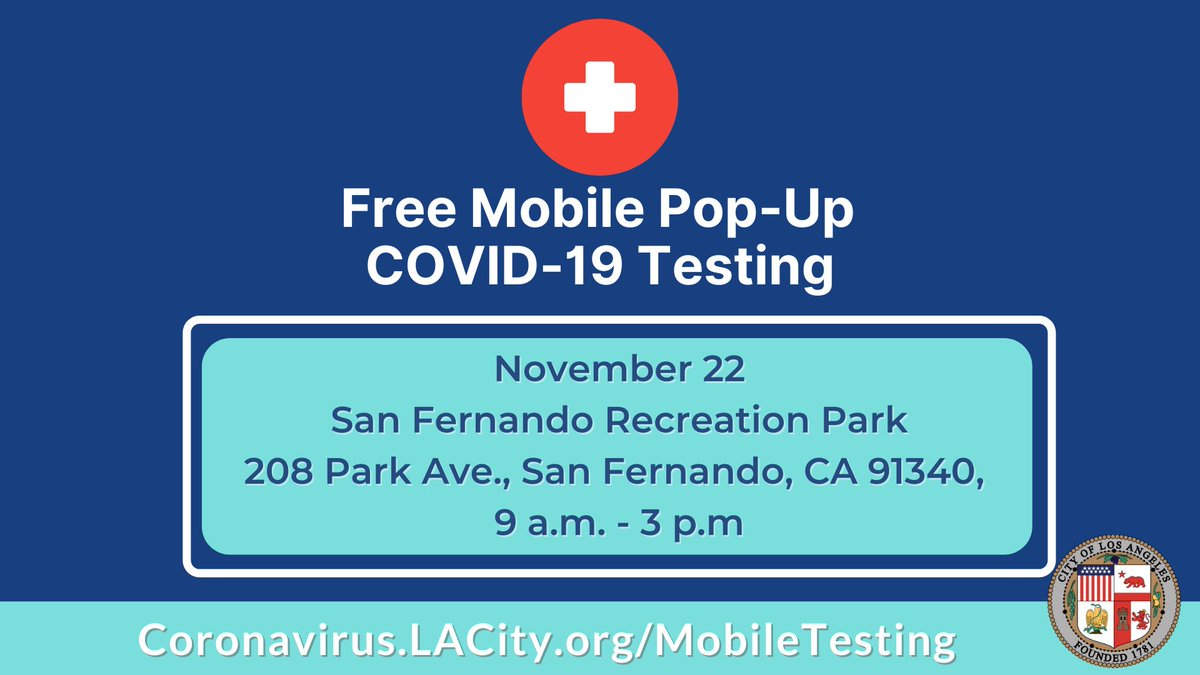 Updated for 11/22:  The LA City Mobile Testing Group is bringing COVID-19 testing to communities throughout the City for those who are unable to drive to a testing site.   ✅ No appointment necessary ✅ Tests are free with or without insurance  Learn more: