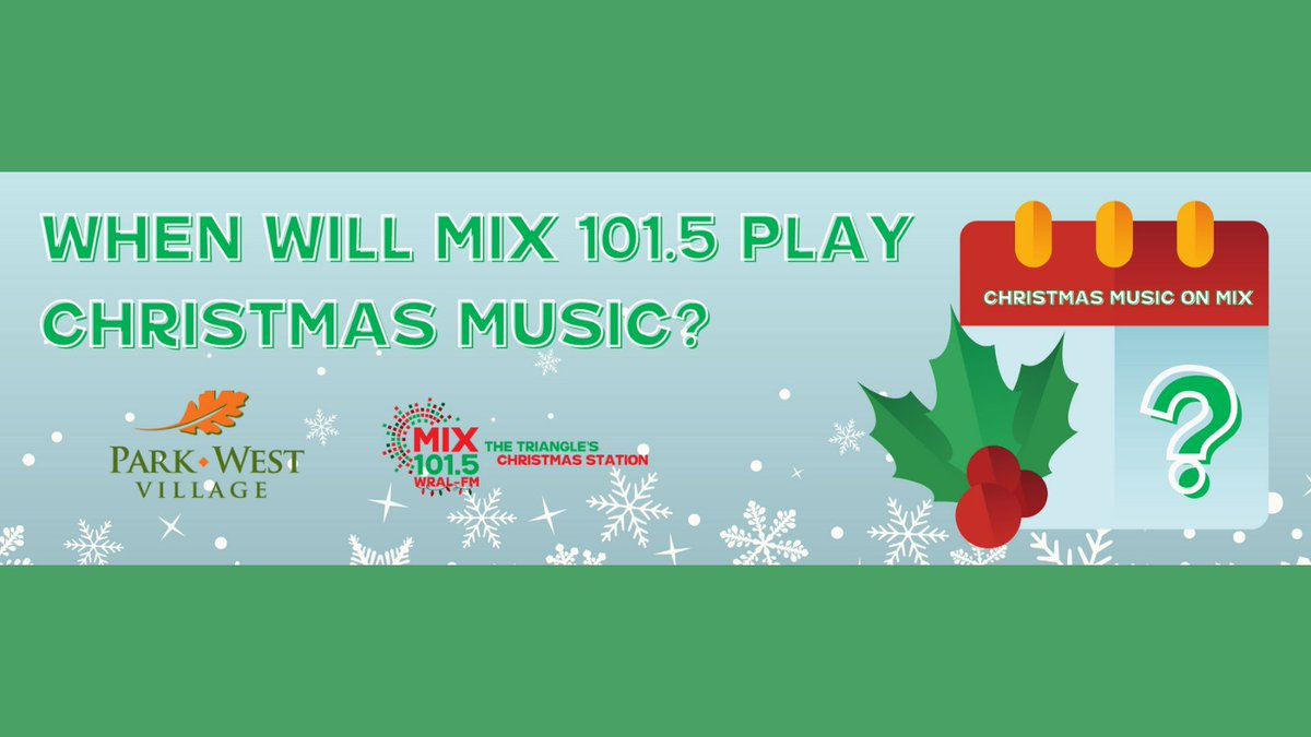 The countdown is on! @MIX1015WRALFM will be kicking off Christmas music this Friday with @ParkWestVLG 🎄🎅