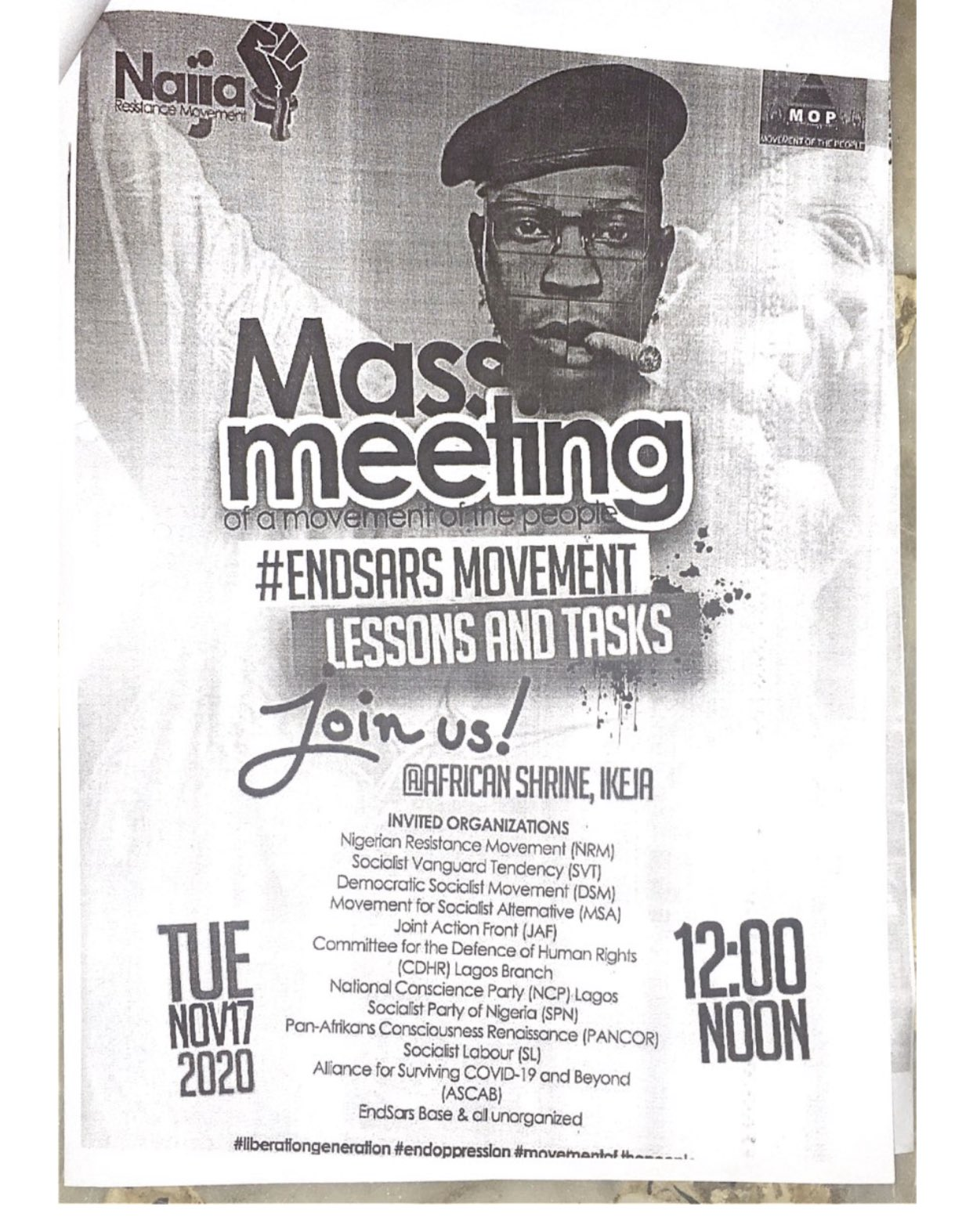 ImageSeun Anikulapo-Kuti shared flyers announcing a meeting on the lessons from EndSARS protests
