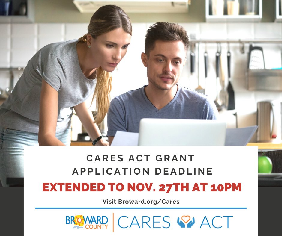 GREAT NEWS: We are extending the CARES Act Grant Application deadline to November 27th at 10PM. APPLY, APPLY, APPLY! #BrowardCares https://t.co/ZQTOBmTRbq